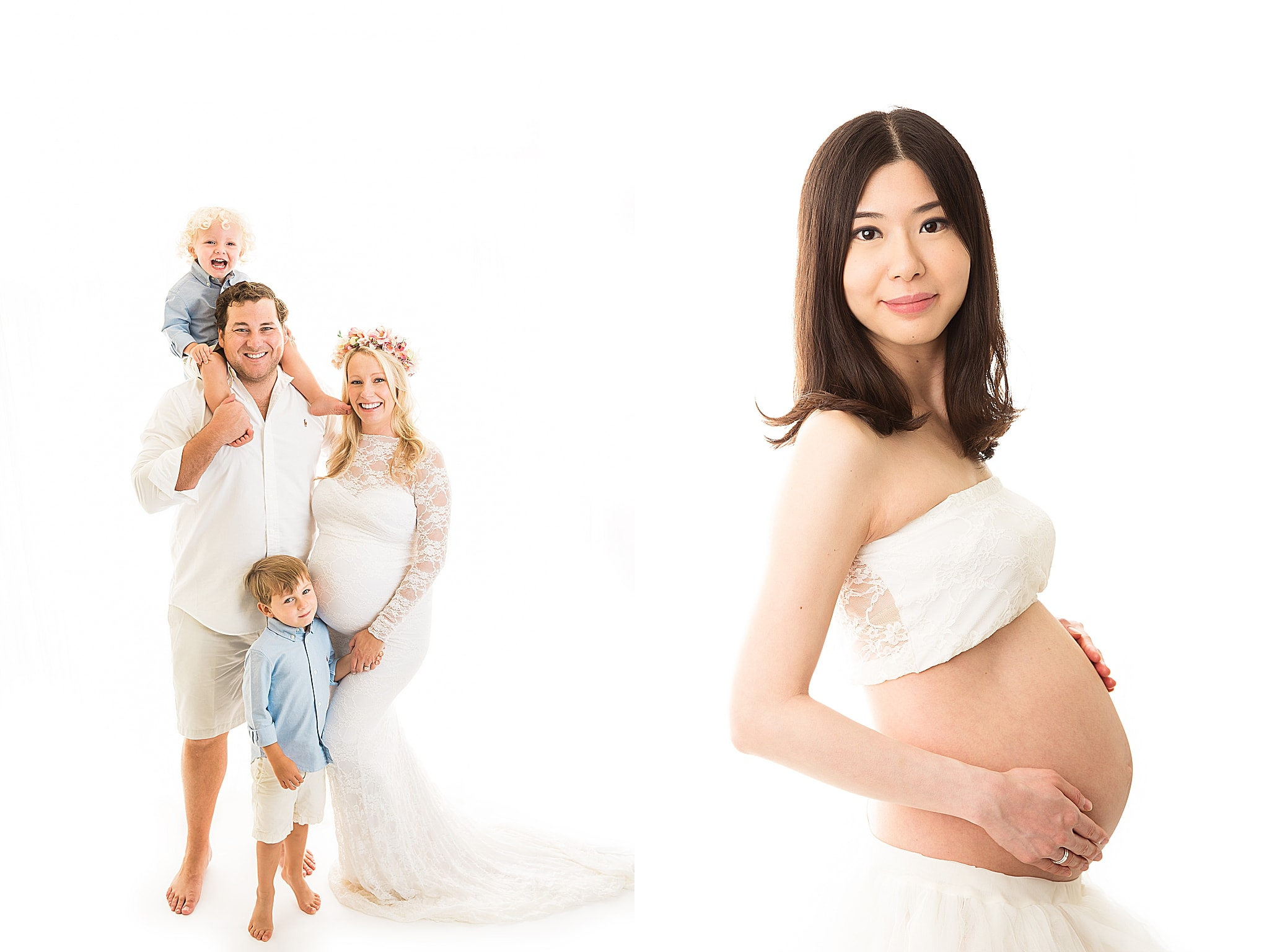 pregnant women with family in white dress and tutu